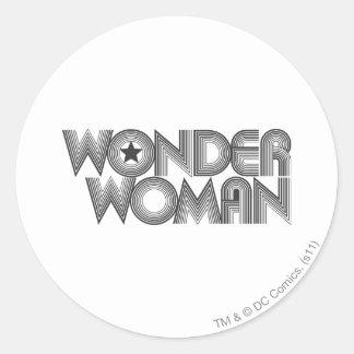 Wonder Woman B&W Logo 3 Classic Round Sticker