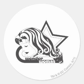 Wonder Woman B&W Star Classic Round Sticker