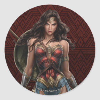 Wonder Woman Battle-Ready Comic Art Classic Round Sticker