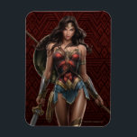 "Wonder Woman Battle-Ready Comic Art Magnet<br><div class=""desc"">Check out this highly detailed comic art for Wonder Woman,  brandishing a weapon in each hand! Here she holds the Sword of Justice,  a long spear,  and has a shield on her back.</div>"