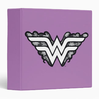 Wonder Woman Black Lace Logo 3 Ring Binder