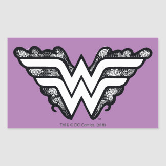 Wonder Woman Black Lace Logo Rectangular Sticker