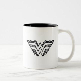 Wonder Woman Black Lace Logo Two-Tone Coffee Mug