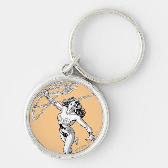 Wonder Woman Black & White Twirl Keychain