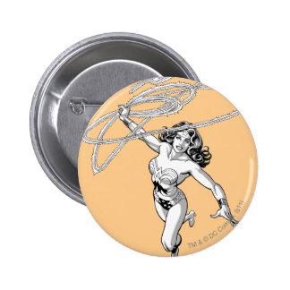 Wonder Woman Black & White Twirl Pinback Button