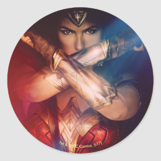 Wonder Woman Blocking With Bracelets Classic Round Sticker