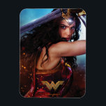 """Wonder Woman Blocking With Sword Magnet<br><div class=""""desc"""">Check out Wonder Woman,  as played by Gal Gadot,  fighting on the battlefield and blocking with her sword held above her head and along her back. Wonder Woman&#39;s tiara glows with power as she gives a fierce glare.</div>"""