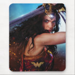 "Wonder Woman Blocking With Sword Mouse Pad<br><div class=""desc"">Check out Wonder Woman,  as played by Gal Gadot,  fighting on the battlefield and blocking with her sword held above her head and along her back. Wonder Woman&#39;s tiara glows with power as she gives a fierce glare.</div>"