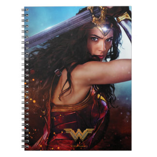 Wonder Woman Blocking With Sword Spiral Notebook
