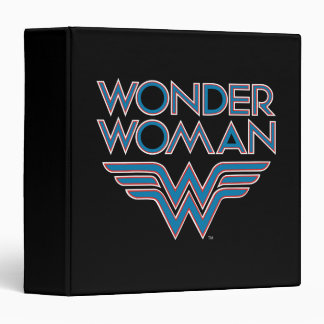 Wonder Woman Blue and Red Retro Logo 3 Ring Binder