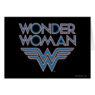 Wonder Woman Blue and Red Retro Logo Card