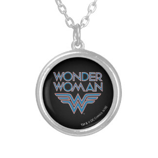 Wonder Woman Blue and Red Retro Logo Silver Plated Necklace