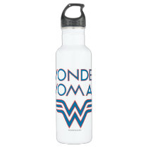 Wonder Woman Blue and Red Retro Logo Stainless Steel Water Bottle
