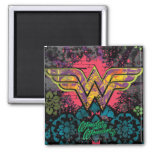 Wonder Woman Brick Wall Collage 2 Inch Square Magnet