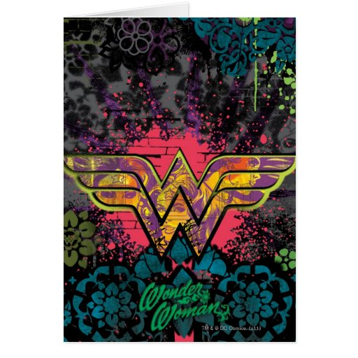 Wonder Woman Brick Wall Collage Greeting Cards