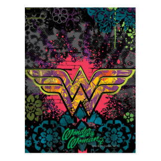 Wonder Woman Brick Wall Collage Postcard