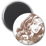 Wonder Woman Brown 2 Inch Round Magnet