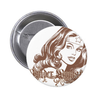 Wonder Woman Brown Button