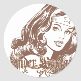 Wonder Woman Brown Classic Round Sticker