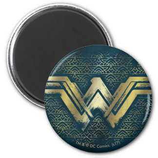 Wonder Woman Brushed Gold Symbol Magnet