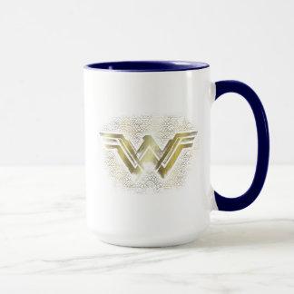 Wonder Woman Brushed Gold Symbol Mug
