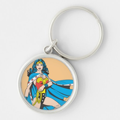 Wonder Woman Cape Silver-Colored Round Keychain