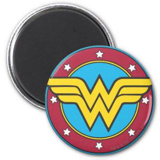 Wonder Woman   Circle & Stars Logo 2 Inch Round Magnet