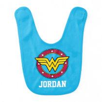Wonder Woman | Circle & Stars Logo Baby Bib