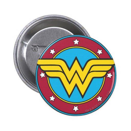Wonder Woman Circle & Stars Logo Pins