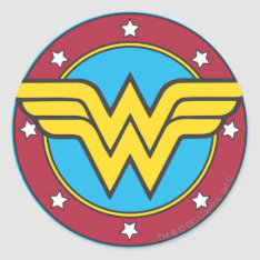 Wonder Woman | Circle & Stars Logo Classic Round Sticker at Zazzle