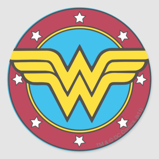 Wonder woman circle stars logo classic round sticker
