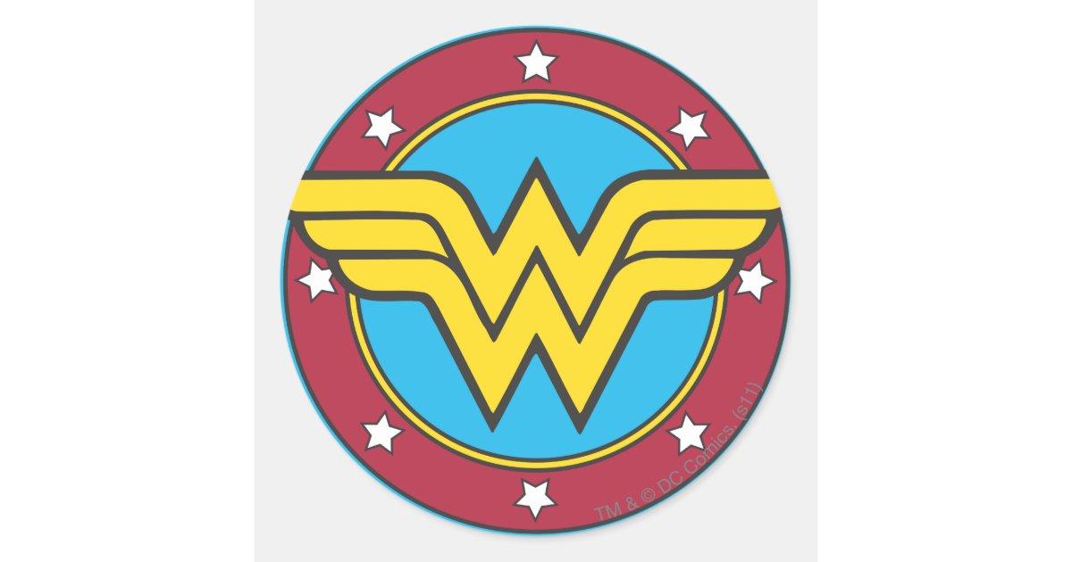 Wonder Woman Circle Amp Stars Logo Classic Round Sticker