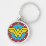 Wonder Woman Circle & Stars Logo Silver-Colored Round Keychain