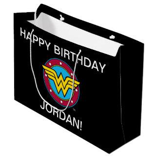 Wonder Woman Circle & Stars Logo Large Gift Bag
