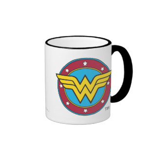 Wonder Woman Circle & Stars Logo Ringer Mug