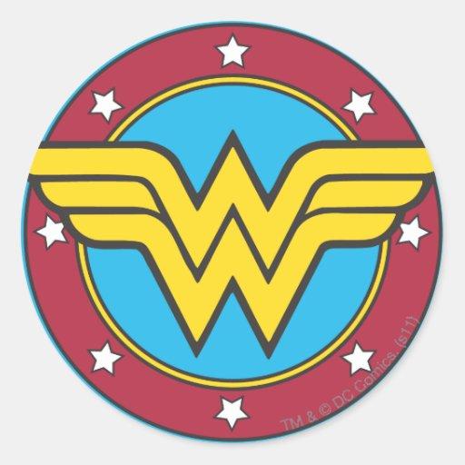 Wonder Woman Circle & Stars Logo Stickers