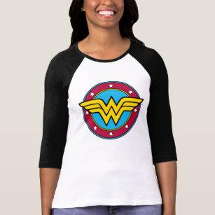 DC Comics Girls T-Shirt Wonder Woman Logo /& Stars Print