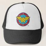 "Wonder Woman | Circle &amp; Stars Logo Trucker Hat<br><div class=""desc"">Wonder Woman Logos</div>"