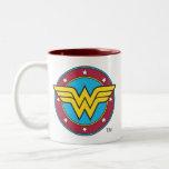 "Wonder Woman | Circle &amp; Stars Logo Two-Tone Coffee Mug<br><div class=""desc"">Wonder Woman Logos</div>"
