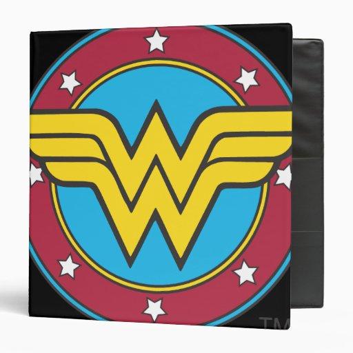 Wonder Woman Circle & Stars Logo Vinyl Binder
