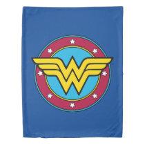 Wonder Woman   Circle & Stars Vintage Logo Duvet Cover