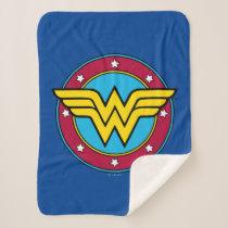Wonder Woman   Circle & Stars Vintage Logo Sherpa Blanket