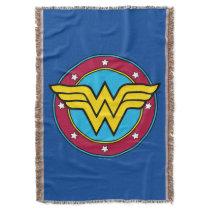 Wonder Woman   Circle & Stars Vintage Logo Throw Blanket
