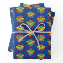 Wonder Woman   Circle & Stars Vintage Logo Wrapping Paper Sheets