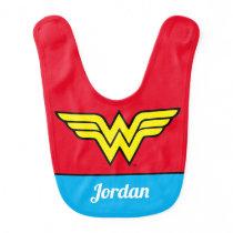 Wonder Woman | Classic Logo & Name Baby Bib