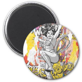 Wonder Woman Collage 1 2 Inch Round Magnet