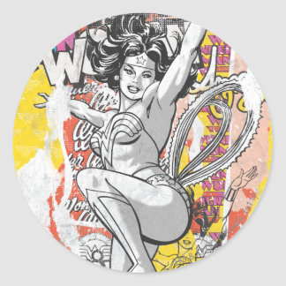 Wonder Woman Collage 1 Classic Round Sticker