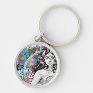 Wonder Woman Collage 6 Silver-Colored Round Keychain