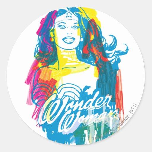 Wonder Woman Colorful 1 Round Sticker