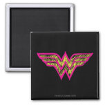 Wonder Woman Colorful Pink and Yellow Logo 2 Inch Square Magnet